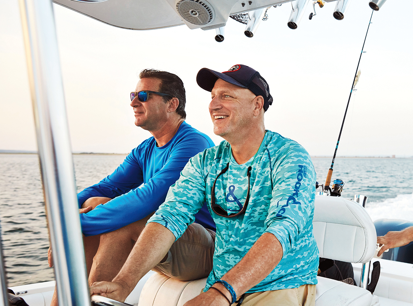 Colicchio, right, with his longtime friend, chef Kerry Heffernan, off New York's Grand Banks.