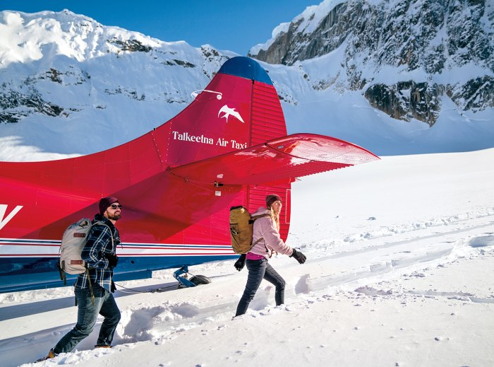 Chalet staffers arrive by air taxi.