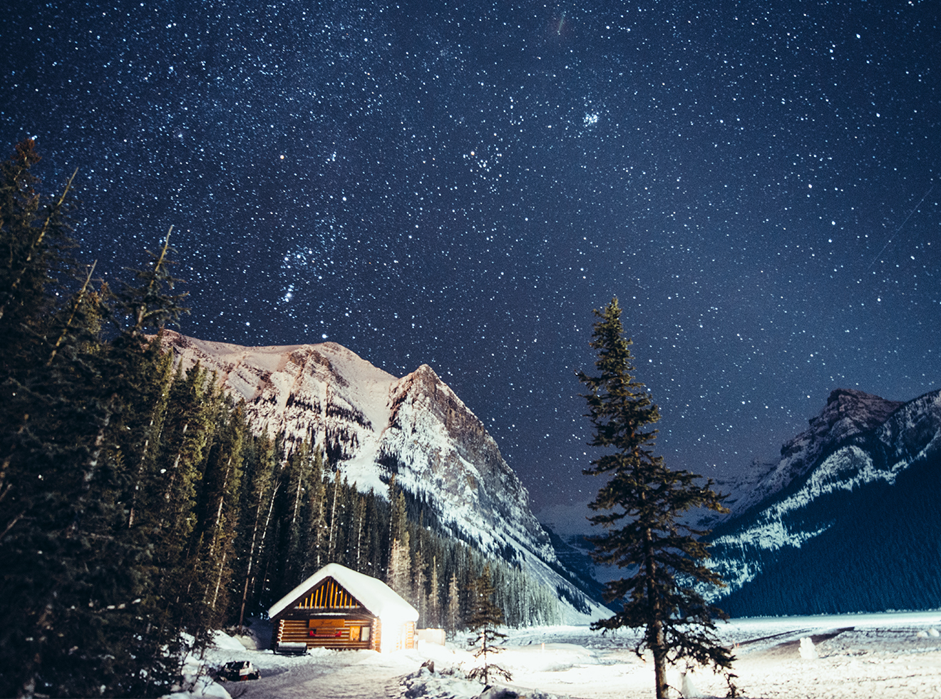 Milky way over Lake Louise in Banff National Park Winter