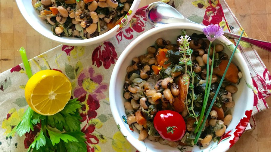 Instant Pot Black Eyed Peas and Greens