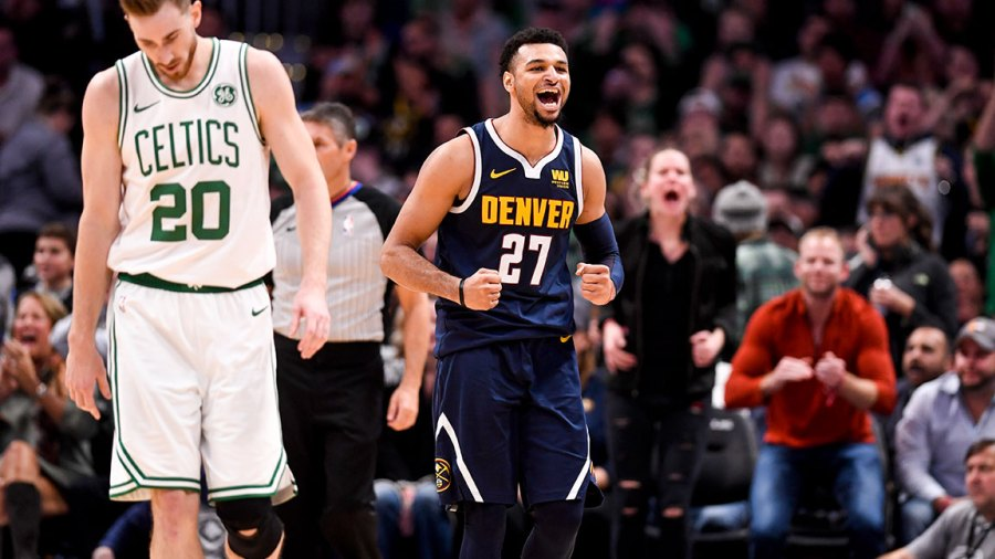 Jamal Murray (27) of the Denver Nuggets and Gordon Hayward (20) of the Boston Celtics react to a turnover by the Celtics during the second half of the Nuggets' 115-107 win on Monday, November 5, 2018. Jamal Murray (27) of the Denver Nuggets had a game and career high 48 points. (Photo by AAron Ontiveroz/The Denver Post via Getty Images)