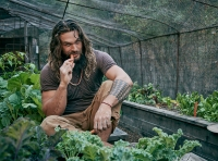 Among the many things in Momoa's backyard, a veggie-filled greenhouse.