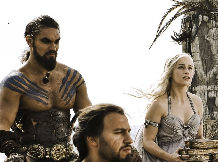 As Khal Drogo, with Emilia Clarke, in Game of Thrones.