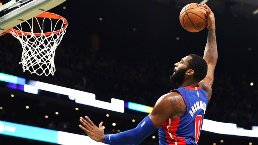 Andre Drummond #0 of the Detroit Pistons dunks against the Boston Celtics during the first half fo the game between the Pistons and the Celtics at TD Garden on October 30, 2018 in Boston, Massachusetts. (Photo by Maddie Meyer/Getty Images)