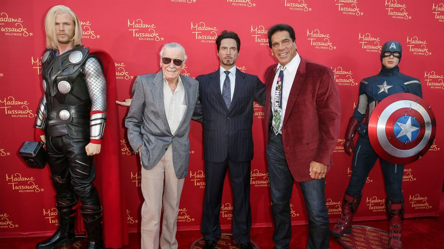 Stan Lee (L) and actor Lou Ferrigno pose with Madame Tussauds Hollywood's figures at the 'Avengers: Age of Ultron' premiere at Dolby Theatre on April 13, 2015 in Hollywood, California. (Photo by Chelsea Lauren/Getty Images for Madame Tussauds Hollywood)