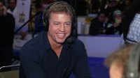 Former NFL player and sportscaster Troy Aikman visits the SiriusXM set at Super Bowl 50 Radio Row at the Moscone Center on February 4, 2016 in San Francisco, California. (Photo by Cindy Ord/Getty Images for SiriusXM)