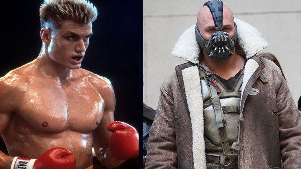 Dolph Lundgren in a scene from the film 'Rocky IV', 1985. (Photo by United Artists/Getty Images), Actor Tom Hardy is seen in costume as Bane on the set of 'The Dark Knight Rises' on location on Wall Street on November 5, 2011 in New York City. (Photo by Marcel Thomas/FilmMagic)