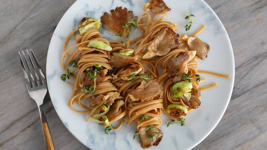 Linguine with Oyster Mushrooms and Brussels Sprouts