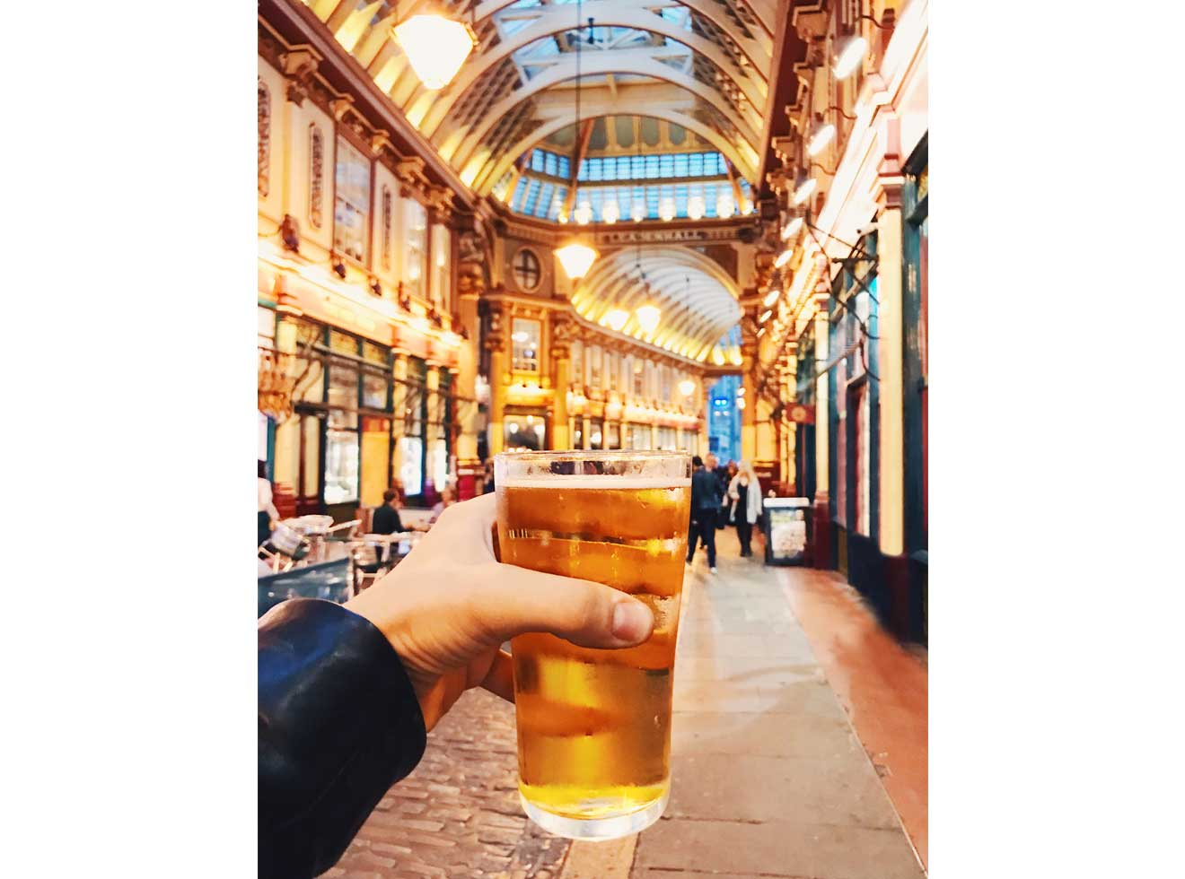 Drinking beer in Leadenhall Market in London
