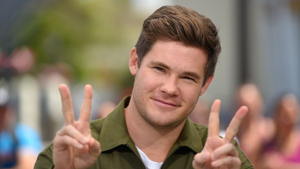 Adam Devine visits 'Extra' at Universal Studios Hollywood on August 15, 2018 in Universal City, California. (Photo by Noel Vasquez/Getty Images)