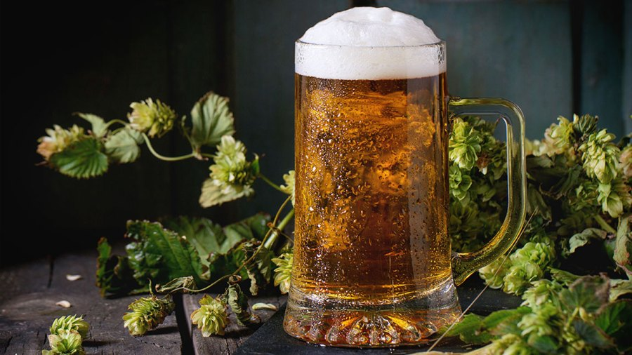 Mug of fresh draught lager beer with foam on black slate, served on old wooden table with green hop and ears of barley. Dark rustic style. (Photo by: Natasha Breen/REDA&CO/UIG via Getty Images)