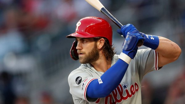 Phillies Braves Baseball, Atlanta, USA - 18 Sep 2019 Philadelphia Phillies right fielder Bryce Harper (3) bats in the first inning of a baseball game against the Atlanta Braves, in Atlanta 18 Sep 2019
