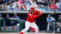 CLEARWATER, FL - MARCH 11: Bryce Harper #3 of the Philadelphia Phillies bats in the first inning of a Grapefruit League spring training game against the Tampa Bay Rays at Spectrum Field on March 11, 2019 in Clearwater, Florida. (Photo by Joe Robbins/Getty Images)