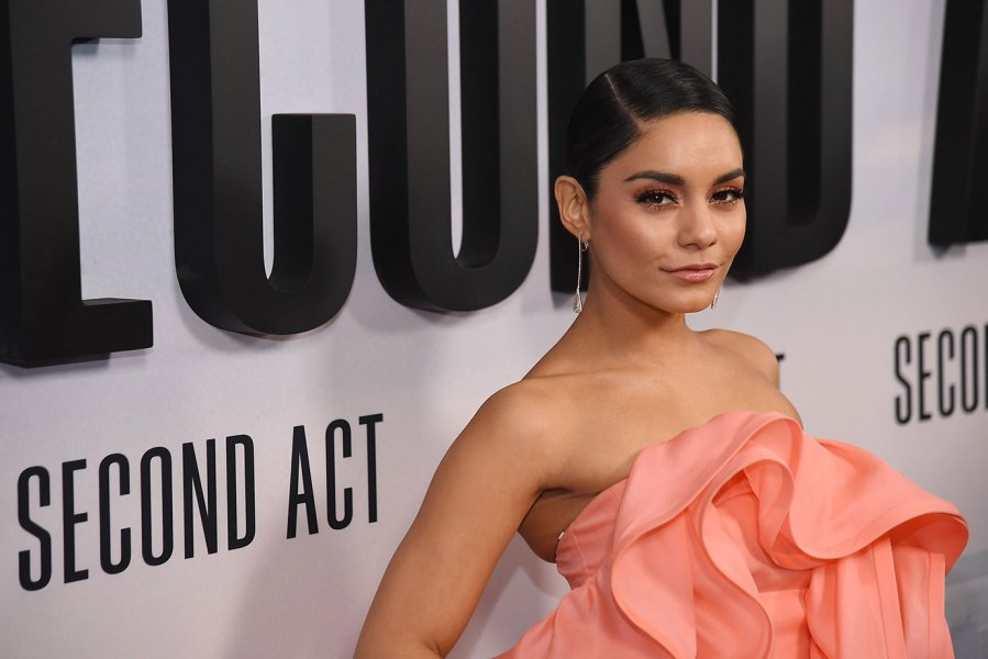 Vanessa Hudgens wearing dress by Marc Jacobs attends the world premiere of 'Second Act' at Regal Union Square Theatre. (Photo by Lev Radin/Pacific Press/LightRocket via Getty Images)