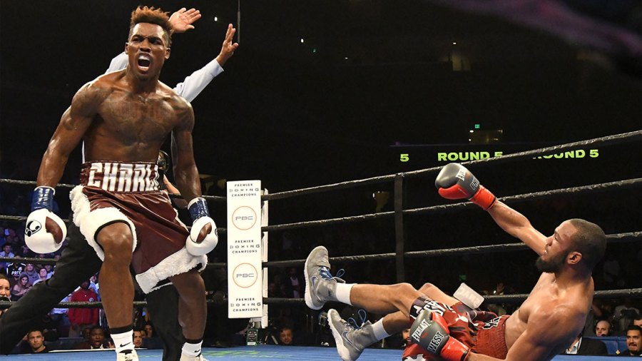 Jermell Charlo knocks out Erickson Lubin in the first round during their WBC Junior Middleweight Title bout at Barclays Center of Brooklyn on October 14, 2017 in New York City. (Photo by Al Bello/Getty Images)