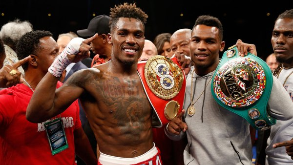 Twin brothers IBF junior middleweight champion Jermall Charlo (L) and WBC super welterweight champion Jermell Charlo pose with their titles at The Chelsea at The Cosmopolitan of Las Vegas on May 21, 2016 in Las Vegas, Nevada. (Photo by Steve Marcus/Getty Images)