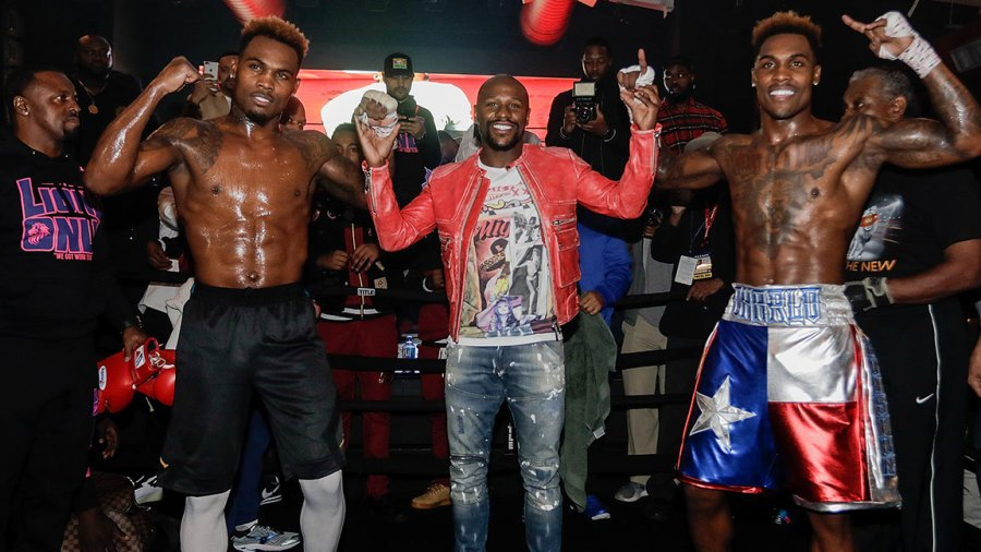 Unbeaten champions and twins Jermall Charlo and Jermell Charlo along with Floyd Mayweather host a first-of-its-kind open to the public workout event in their hometown as they prepare for their respective title fights taking place Saturday, December 22 in primetime on FOX and FOX Deportes from Barclays Center, the home of BROOKLYN BOXING™. at The Address on December 12, 2018 in Houston, Texas. (Photo by Bob Levey/Getty Images)