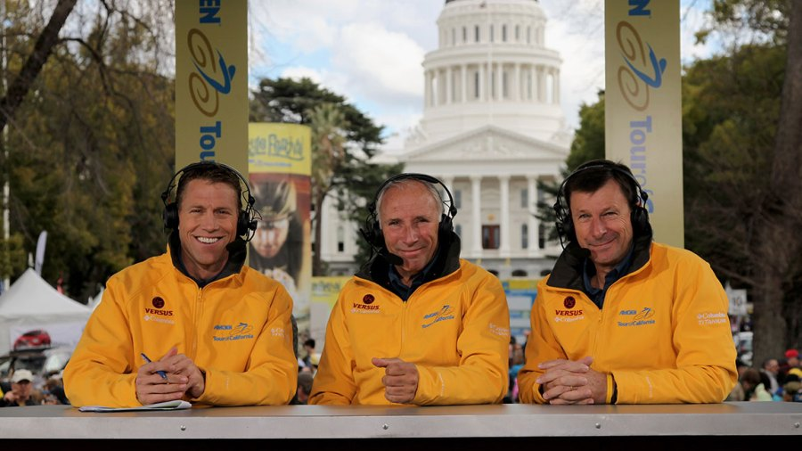 Commentators Craig Hummer, Phill Liggett and Paul Sherwen of Versus Television broadcast during the Prologue of the AMGEN Tour of California on February 14, 2009 in Sacramento, California. (Photo by Doug Pensinger/Getty Images)