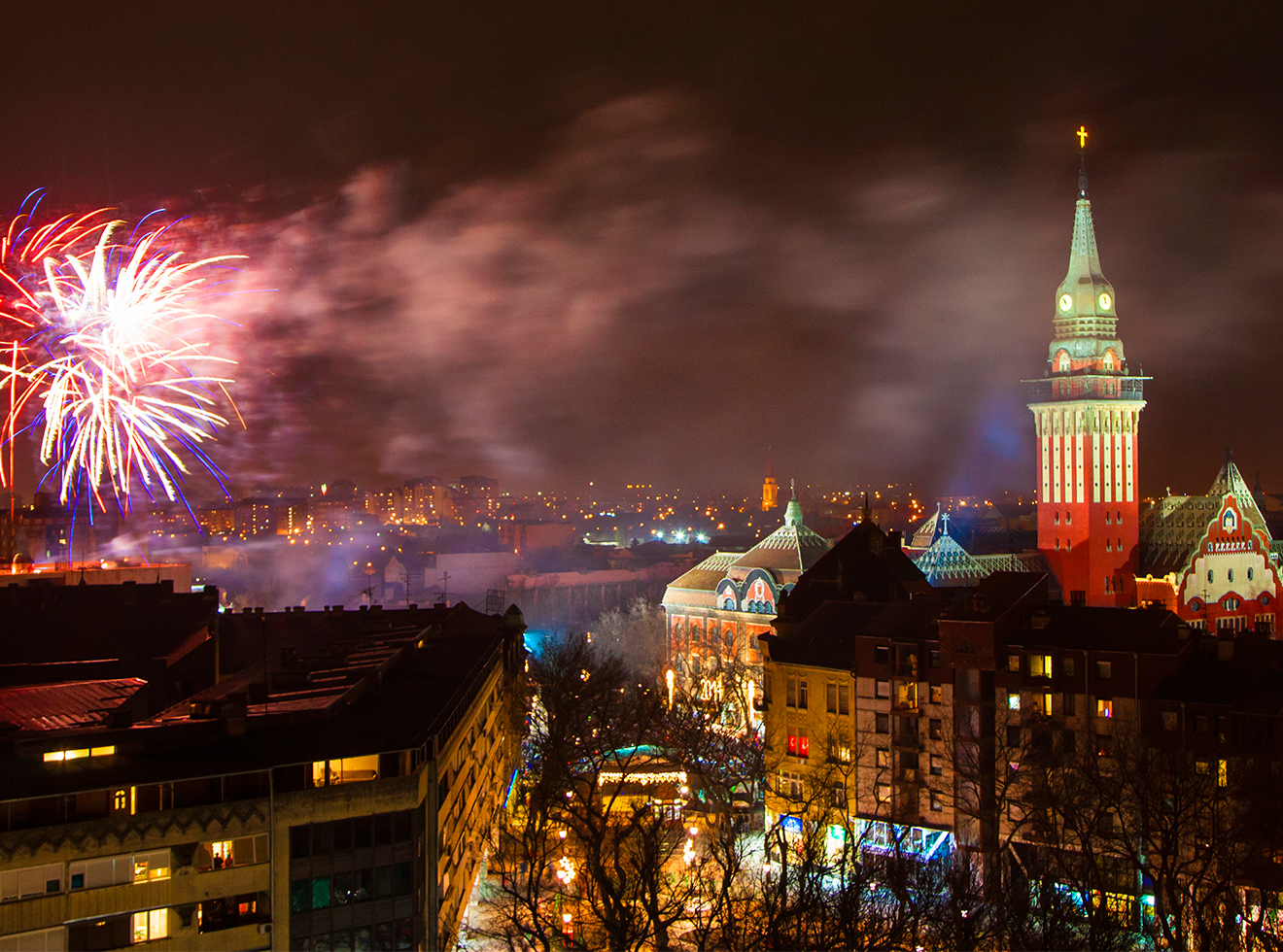 Fireworks celebrating New Year in Subotica, Serbia