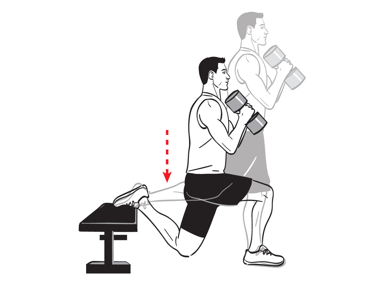 Elevated Split Squat With Dumbbell
