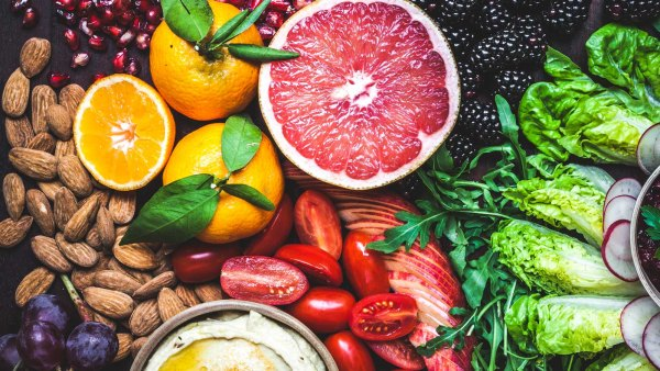 Fruits, vegetables, hummus, and nuts
