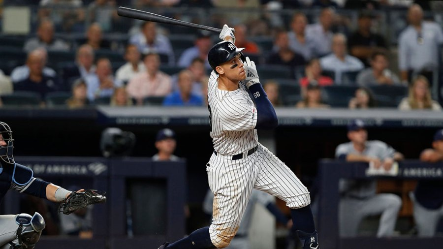 Rays Yankees Baseball, New York, USA - 16 Jul 2019 New York Yankees' Aaron Judge watches his two-run home run during the eighth inning of the team's baseball game against the Tampa Bay Rays, in New York 16 Jul 2019