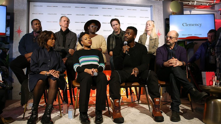 Wendell Pierce, Michael O'Neill, Danielle Brooks, Richard Gunn, Bronwyn Cornelius, (Frontrow L-R) Alfre Woodard, Chinonye Chukwu, Aldris Hodge, and Richard Schiff attend Stella Artois & Deadline Sundance Series at Stella's Film Lounge: A Live Q&A with the filmmakers and cast of 'Clemency' at Stella's Film Lounge on January 25, 2019 in Park City, Utah. (Photo by Phillip Faraone/Getty Images for Stella Artois )