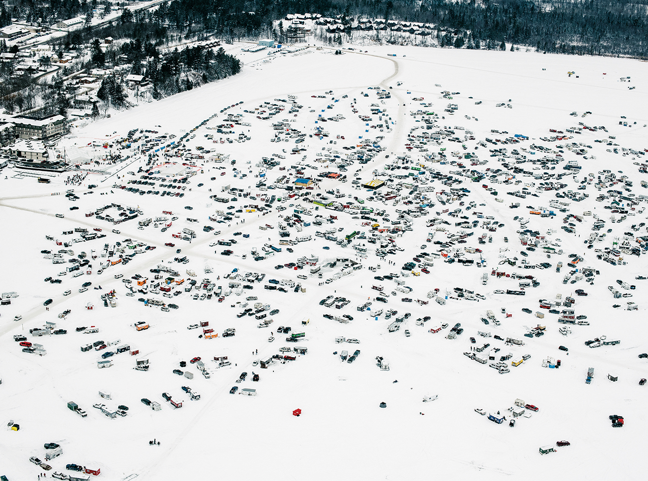 An overhead view of the 39th-annual International Eelpout Festival.