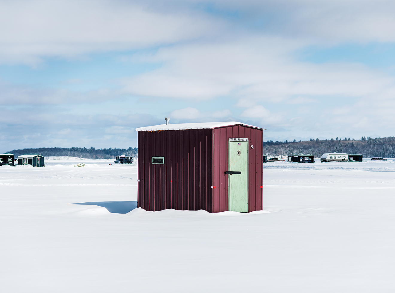 Portable fish houses dot Leech Lake.