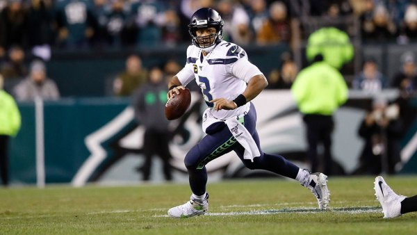Seahawks Eagles Football, Philadelphia, USA - 05 Jan 2020 Seattle Seahawks quarterback Russell Wilson plays during an NFL wild-card playoff football game against the Philadelphia Eagles, in Philadelphia 5 Jan 2020