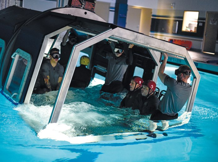 As part of training, SERE specialists practice freeing themselves from a downed aircraft in water.