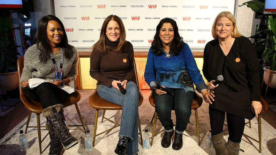 Amanda N' Duka, Cathy Schulman, Nisha Ganatra, and Bruna Papandrea attend the Stella Artois & Deadline Sundance Series: ReFrame's '#GotStamped: Gender Parity Success Stories,' Presented by Women In Film at Stella's Film Lounge on January 26, 2019 in Park City, Utah. (Photo by Phillip Faraone/Getty Images for Stella Artois )