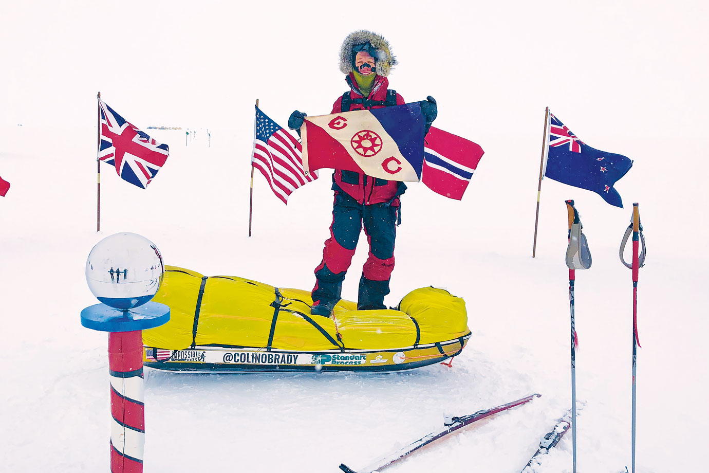 O'Brady celebrating at the South Pole.