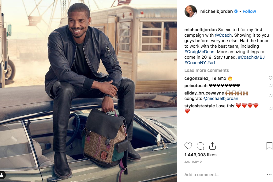 a6e78604c941 Instagram. In the campaign Jordan is rocking a color-block shearling jacket  ...