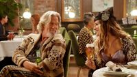 LOS ANGELES, CA - JANUARY 04: Cheers to a good cause! Jeff Bridges and Sarah Jessica Parker reprise their roles as The Dude and Carrie Bradshaw in Stella Artois new Super Bowl commercial to help end the global water crisis in partnership with Water.org. For every Stella enjoyed until March 31, the brand will donate one month of access to clean water to someone living without it. (Photo by Lester Cohen/Getty Images for Stella Artois)