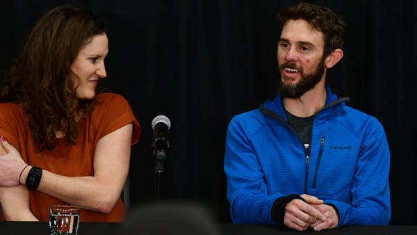Trail runner Travis Kauffman, right, and his girl friend Annie Bierbower are in the press conference at Fort Collins Marriott. Feb. 14, 2019. Kauffman survived a mountain lion attack and then killed the animal with his bare hands. Kauffman received more than 20 stitches to his face, and suffered contusions and puncture wounds to his neck and legs that did not require stitches. (Photo by Hyoung Chang/MediaNews Group/The Denver Post via Getty Images)