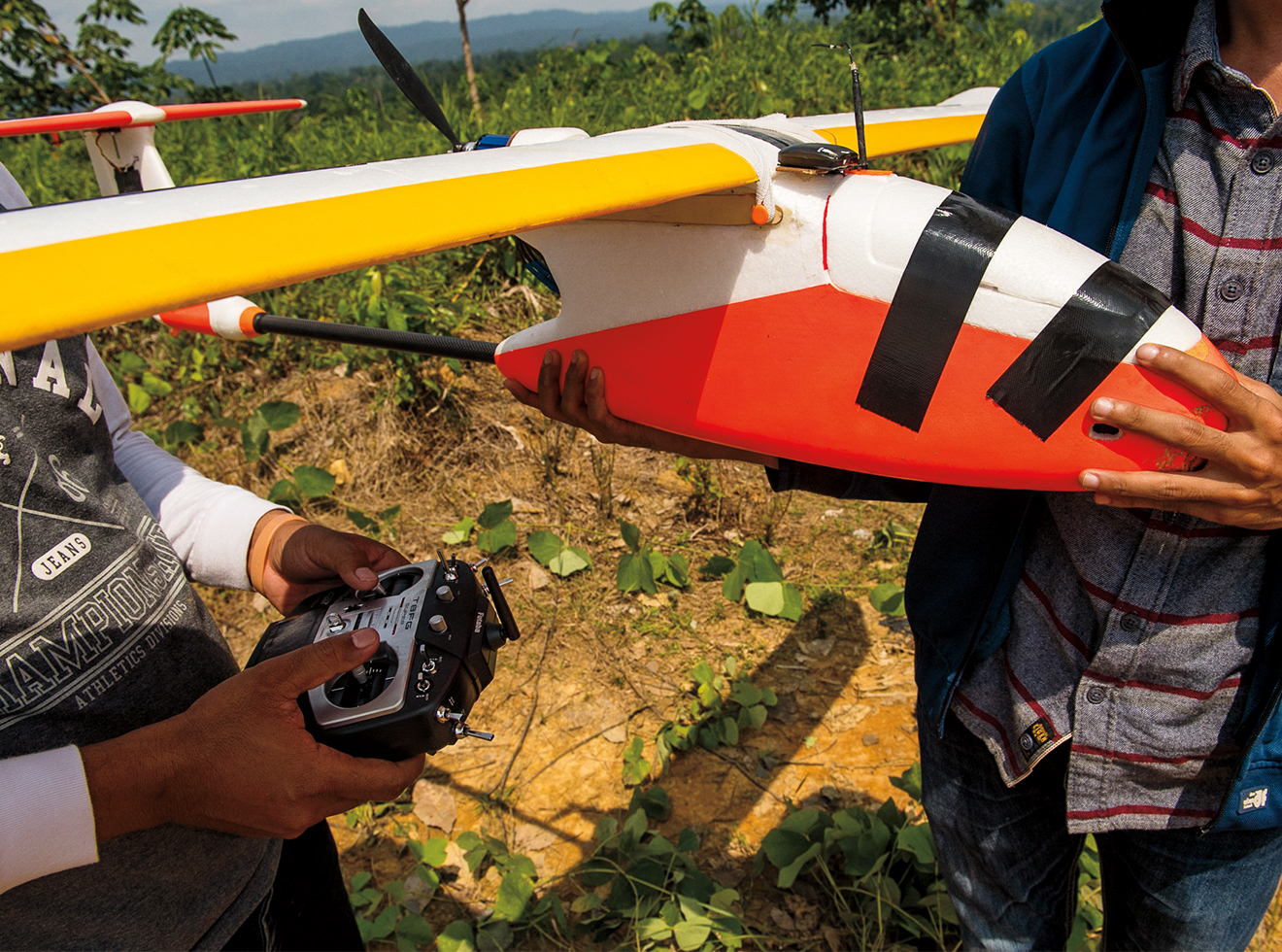 The group uses drones to document illegal oil-palm operations.