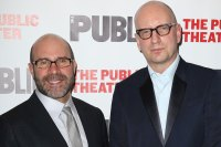 Scott Z. Burns and Steven Soderbergh attend the Opening Night After Party for 'The Library' at The Public Theater on April 15, 2014 in New York City. (Photo by Walter McBride/WireImage)