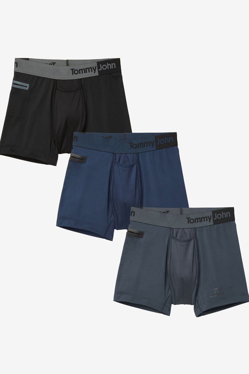 3 Pack Comfortable Breathable Soft Striped Underwear for Men Tommy John Mens Second Skin Trunks