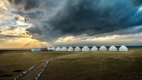 Traditional yurt camp of the nomadic Kyrgyz