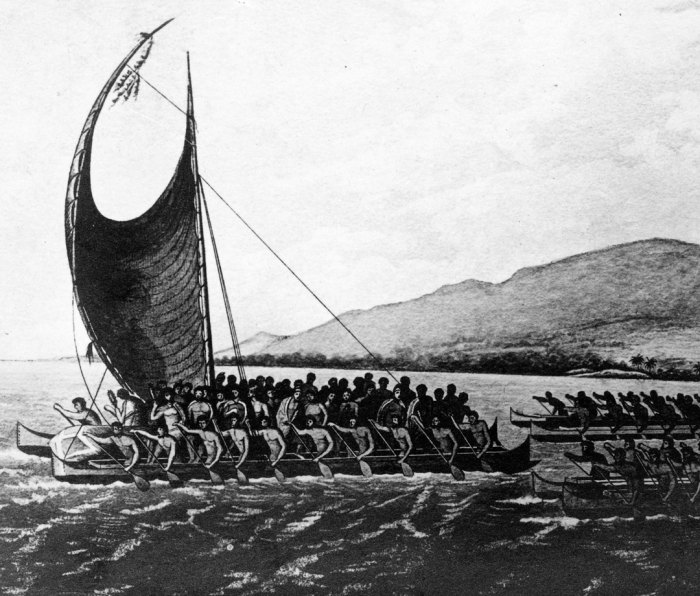 Postcard with an illustration of Fijians at sea paddling in canoes and a drua, large and fast canoes built from planks and powered by huge triangular sails