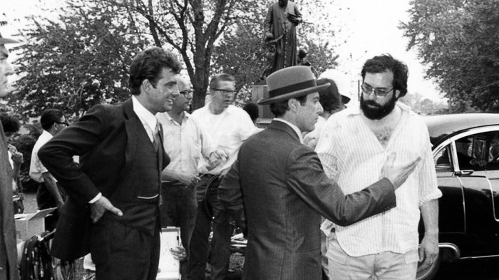 A scene from The Godfather with Francis Ford Coppola, Al Pacino, and Gianni Russo