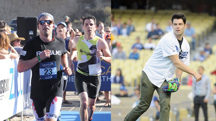 L: Actor Max Greenfield jogs toward the finish line during the Nautica Malibu Triathlon Presented by Equinox at Zuma Beach on September 14, 2014 in Malibu, California. (Photo by Noel Vasquez/Getty Images for Konnect PR / Nautica), R: Actor Max Greenfield warms up to throw out the ceremonial first pitch before the game between the Philadelphia Phillies and the Los Angeles Dodgers at Dodger Stadium on April 24, 2014 in Los Angeles, California. (Photo by Mark Sullivan/WireImage)
