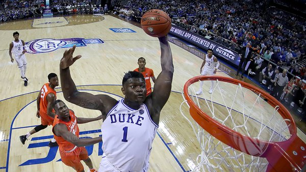 MARCH 14: (EDITOR'S NOTE: Alternate crop.) Zion Williamson #1 of the Duke Blue Devils dunks the ball against the Syracuse Orange during their game in the quarterfinal round of the 2019 Men's ACC Basketball Tournament at Spectrum Center on March 14, 2019 in Charlotte, North Carolina. (Photo by Streeter Lecka/Getty Images)