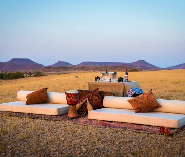 Sundowners at Desert Rhino Camp in Damaraland, Namibia
