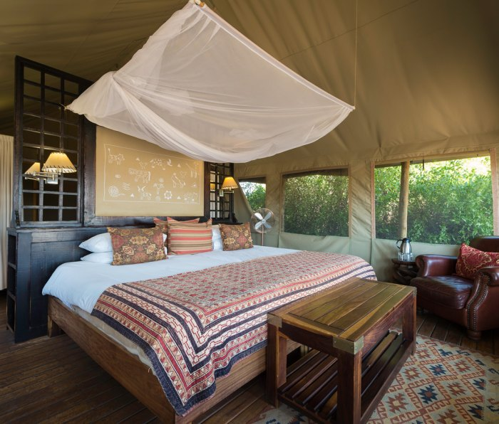 Tent lodging at Desert Rhino Camp in Damaraland, Namibia