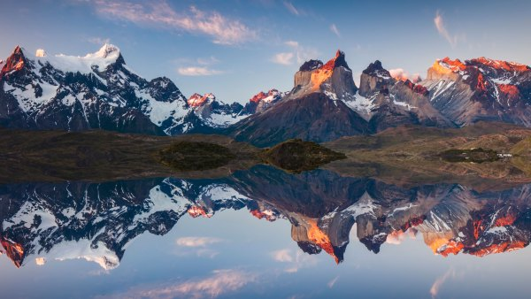 Panorama of a colorful sunset in Torres del Paine, Chile