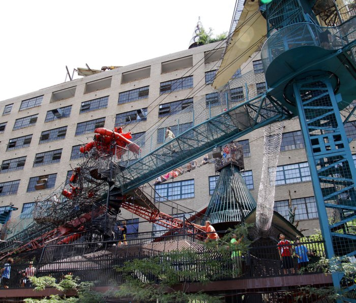 Kids and adults enjoy a day at the St. Louis City Museum, in St. Louis, Missouri
