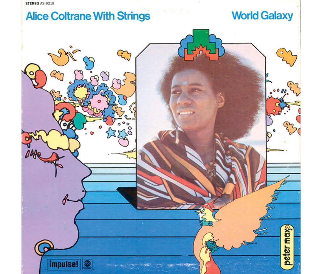 Peter Max's painted cover of 'World Galaxy' by Alice Coltrane
