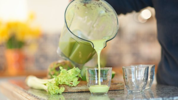 pouring smoothie from blender